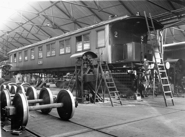 Bergslagernas Järnvägars, BJ, verkstad i Åmål på 1920-talet.