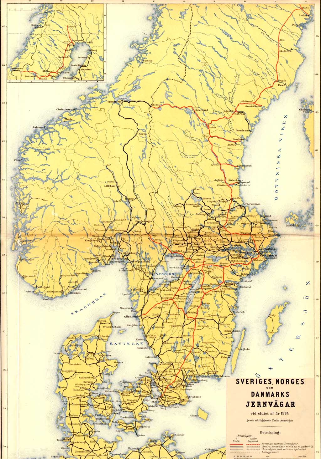 karta över norge Karta över järnvägarna i Sverige, Norge och Dannmark 1894  karta över norge