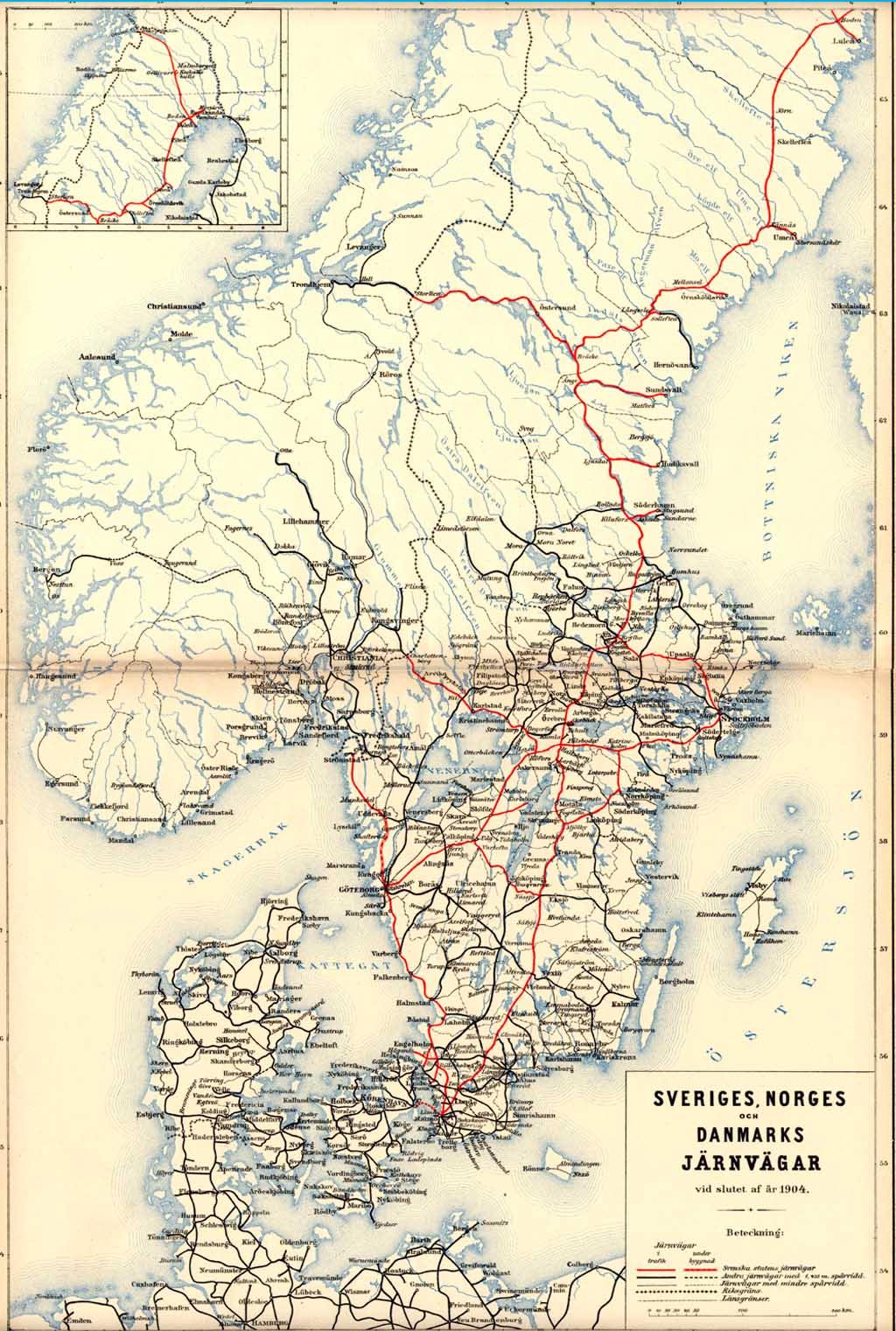 Karta Over Jarnvagarna I Sverige Norge Och Dannmark 1904