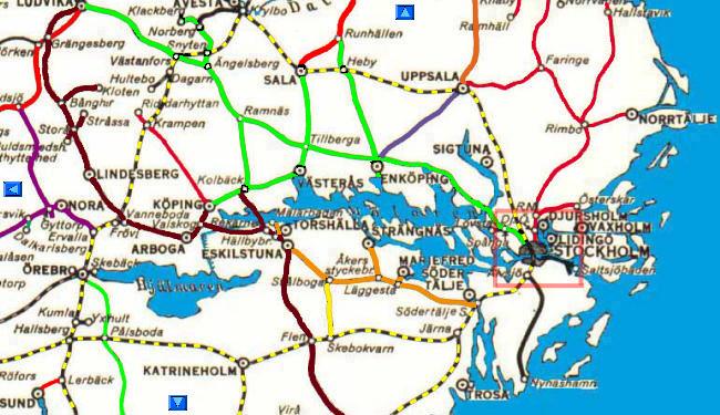 mälaren karta Svensk Järnvägskarta runt Mälaren, Swedish railway map, district  mälaren karta