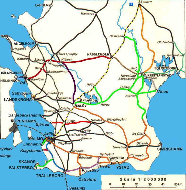 Karta Nordvastra Skane.Svensk Jarnvagskarta Skane Swedish Railway Map Skane Extra Detailed