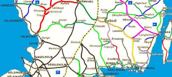 Svensk Jarnvagskarta Syd Swedish Railway Map Southern Part