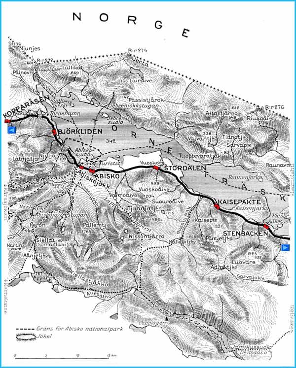 Karta Riksgransen Abisko.Kartor Over Malmbanan Lulea Riksgransen Narvik Maps Showing The