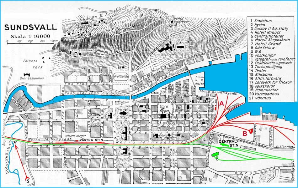 sundsvall karta SJ, Statens Järnvägar. Karta över Sundsvall stad 1930. Citymap  sundsvall karta