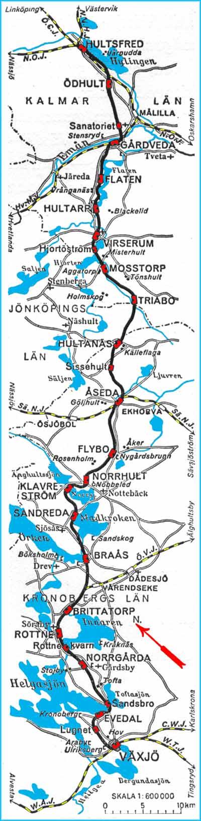 Karta Over Vahj Vaxjo Aseda Hultsfreds Jarnvag Map Vahj